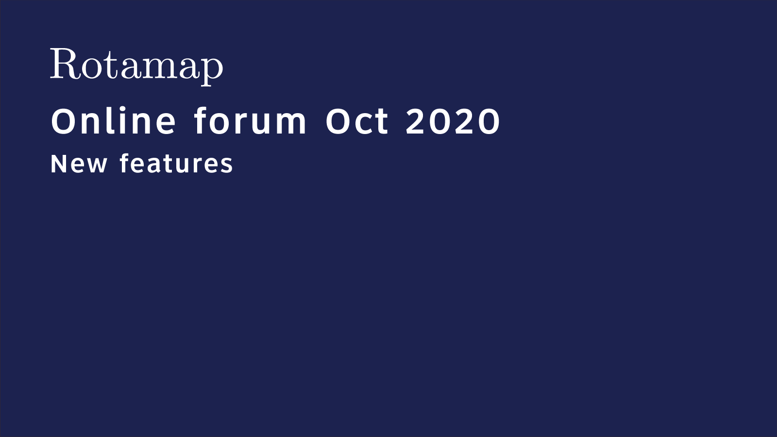 Watch the online forum new features presentation